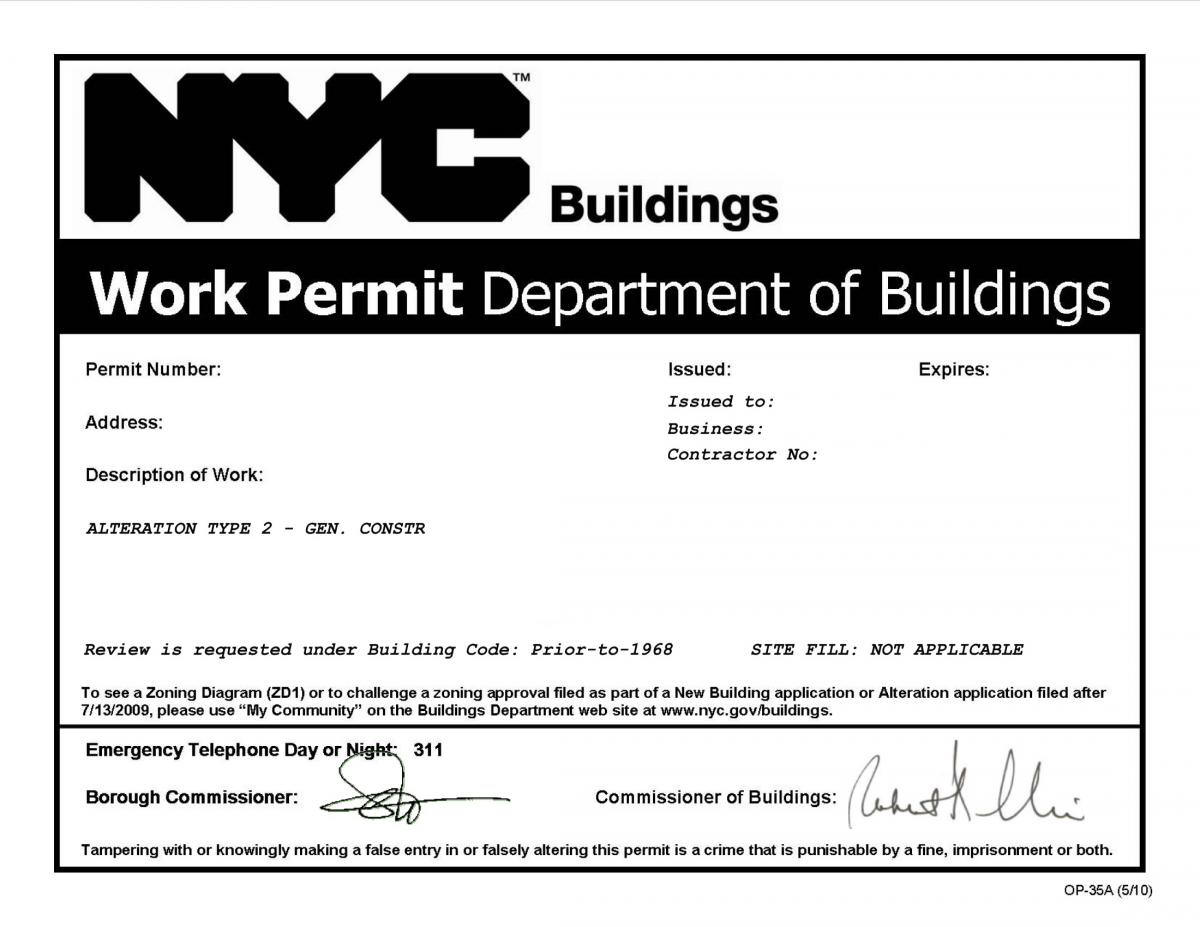 WORK WITHOUT A PERMIT